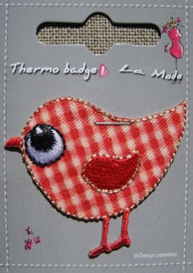 Ecusson thermocollant Oiseau Vichy rouge