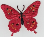 MOTIF ECUSSON THERMOCOLLANT  papillon Rouge à Strass