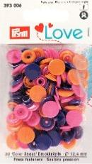 Boutons pressions plastique Love Prym - Coloris Violet Assortiment - Lot de 30