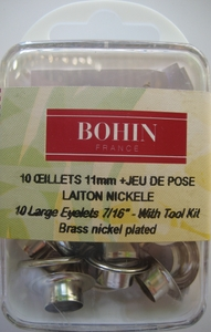 Oeillets 11mm Nickel + jeu de pose