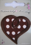 Ecusson thermocollant Motif Coeur pois Marron