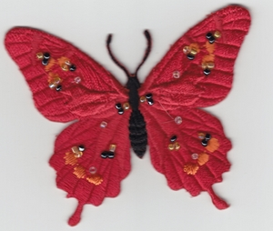 MOTIF THERMOCOLLANT  papillon Rouge à Strass