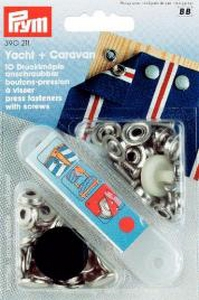 Bouton Pression à visser 15mm YACHT et CARARVANE - Lot de 10 - Prym