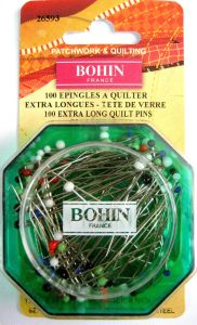Epingle à quilter extra longue tête de verre MULTICOLORE 45x0.70mm BOHIN FRANCE