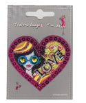 "Ecusson thermocollant  ""Coeur Love"" avec paillettes"